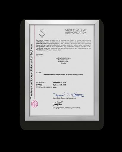 Letina ASME BPV certificate.