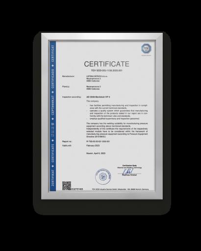 Letina AD 2000-Merkblatt HP 0 certificate.