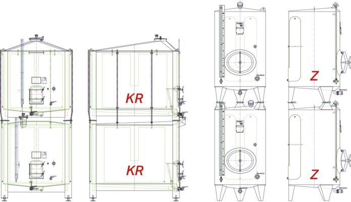 Illustration of stacked tanks KR & KR, Z & Z.