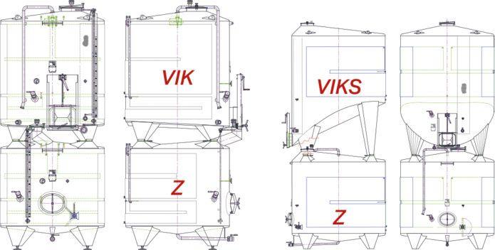 Illustration of stacked tanks VIK & Z, VIKS & Z.