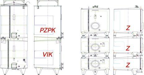 Illustration of stacked tanks PZPK & VIK, Z & Z & Z.
