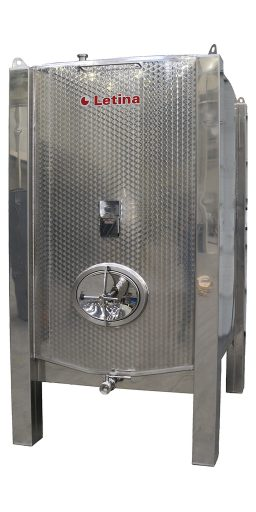 Side view of a stainless steel square tank from Letina.