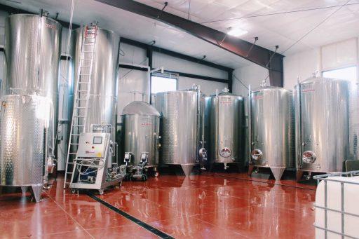 Wine tanks in the Liquid Art Winery in Kansas, USA.