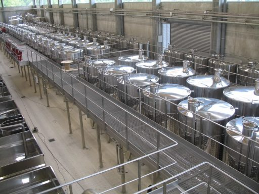 Rows of Letina tanks in the Moet & Chandon winery.