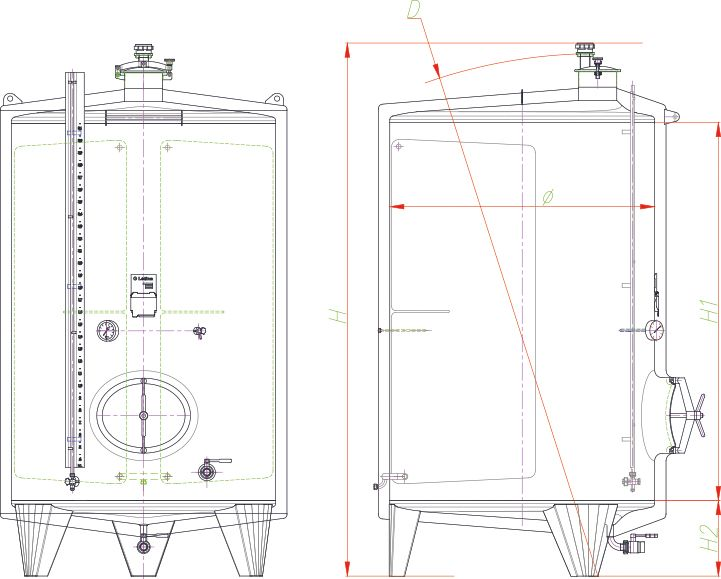 Blueprint of the insulated tank.