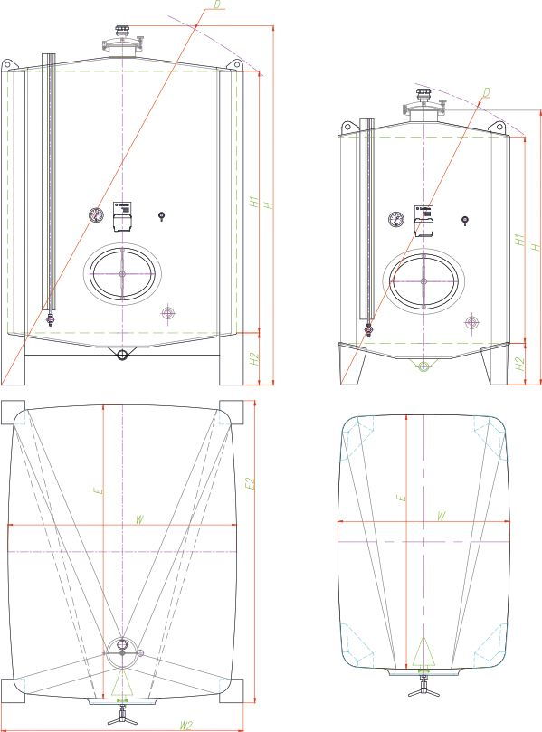 Blueprint of the square tank.