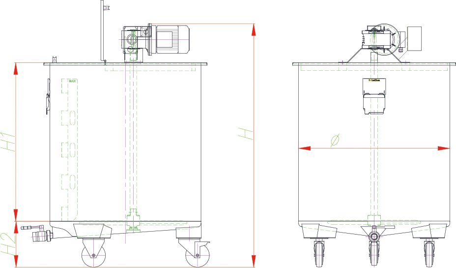 Blueprint of the mixing tank with agitator.