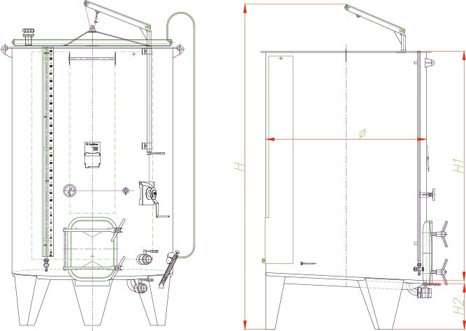 Blueprint of the professional variable capacity tank with a sloped bottom for red wine.