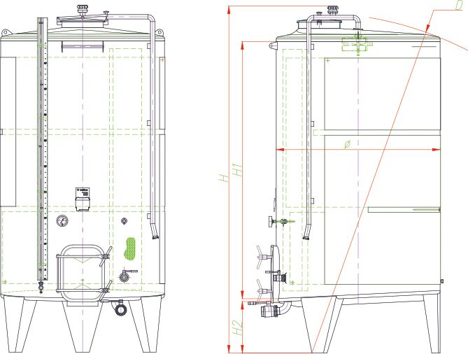Blueprint of the pump-over fermenter.