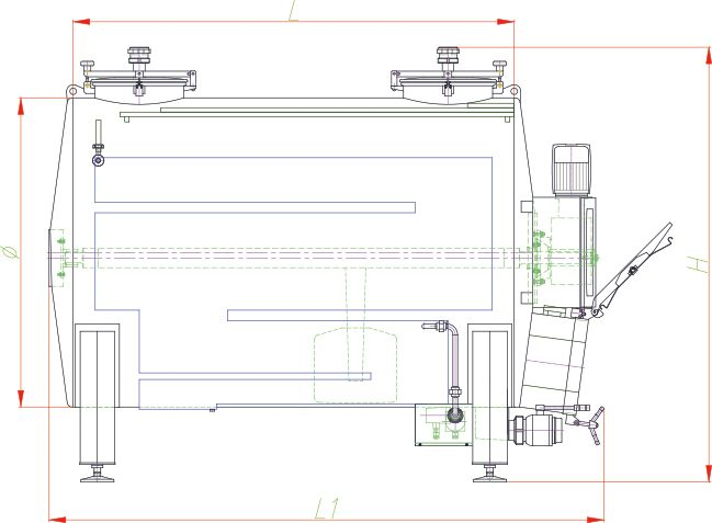 Blueprint of the horizontal fermenter.