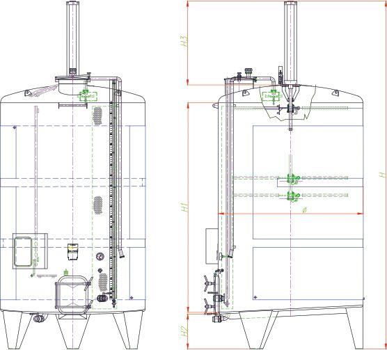Blueprint of the punch-down fermenter.