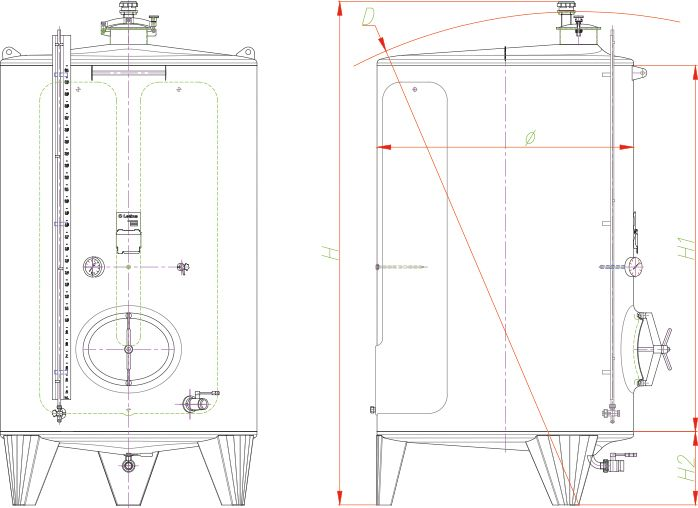 Blueprint of the closed storage tank.