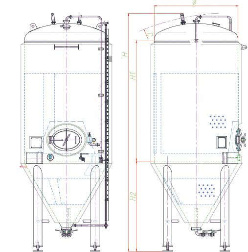 Blueprint of the conical fermenter - front side.