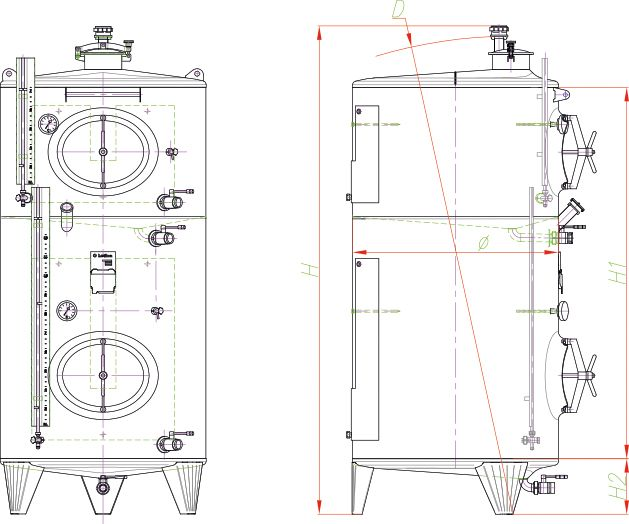 Blueprint of the multi-chamber tank.
