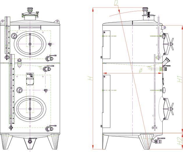 Blueprint of the multi-chamber tank.
