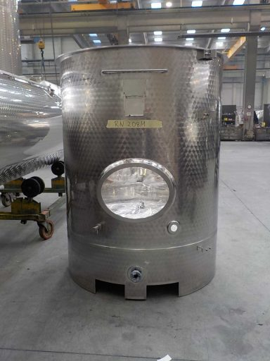 Front view of a 1700 L stainless steel Letina PV forklift transport tank with a lifting skirt.