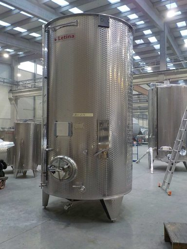 Front view of a professional, marbled 7300 L stainless steel Letina PZP variable capacity tank for wine.