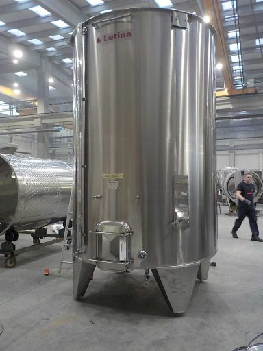 Front view of a professional 9950 L stainless steel Letina PZPK sloped variable capacity tank for red wine.