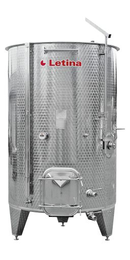 Stainless steel variable capacity tank with a sloped bottom from Letina.