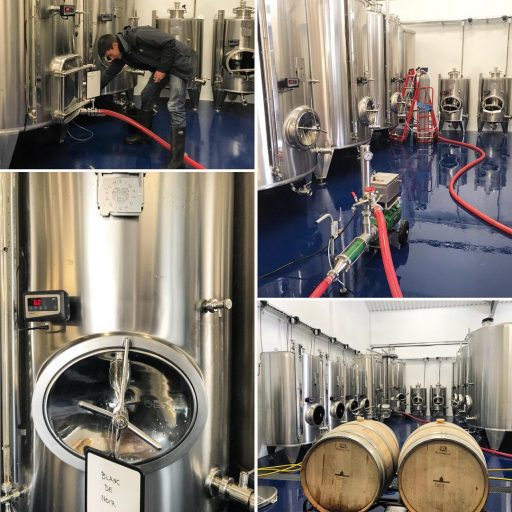 Photo collage of wine tanks at the Simpsons Wine Estate in the United Kingdom.