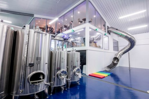 Polished Letina stainless steel tanks at Simpsons Wine Estate in the United Kingdom.