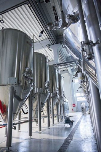 Row of conical fermenters in the Varionica brewery in Croatia.