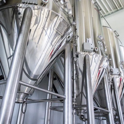 Artistic photo of conical fermenters in the Varionica brewery in Croatia.