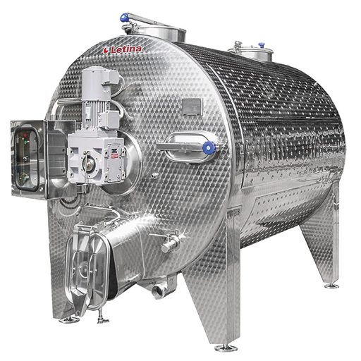 Stainless steel horizontal fermenter wine tank from Letina.