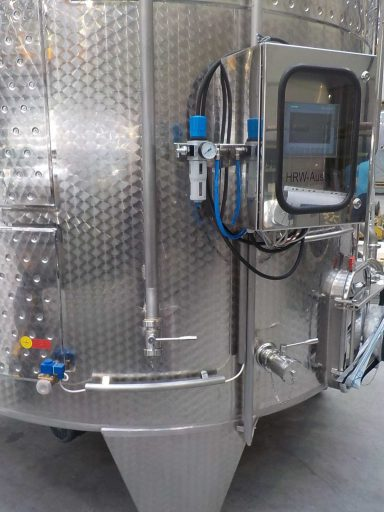 Control panel and valves on the VIP Punch-down Fermenter.