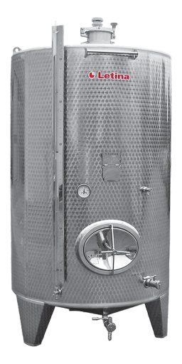 Stainless steel storage tank.