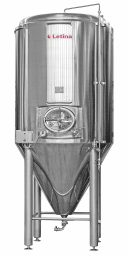 Side view of a stainless steel conical fermenter beer tank from Letina.